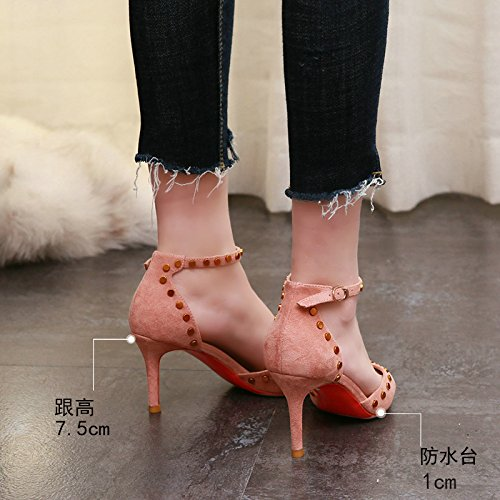 Baja Huecos La de Aguja Boca Moda de señaló Remaches tacón Pink de la YMFIE Estilete Mujer Zapatos z0wqnP