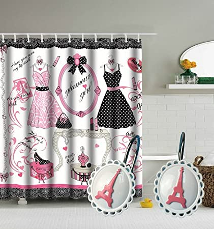 Amazon TGBack Fashion Girl Paris Bathroom SetShower Curtain