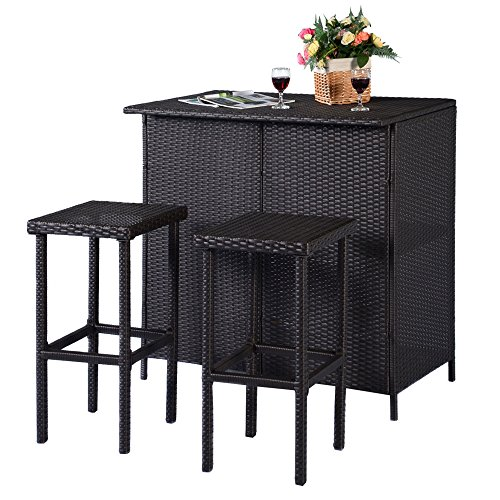 LTL Shop 3PCS Brown Rattan Wicker Bar Set Patio Outdoor Table & 2 Stools (Wicker Garden Furniture South Africa)