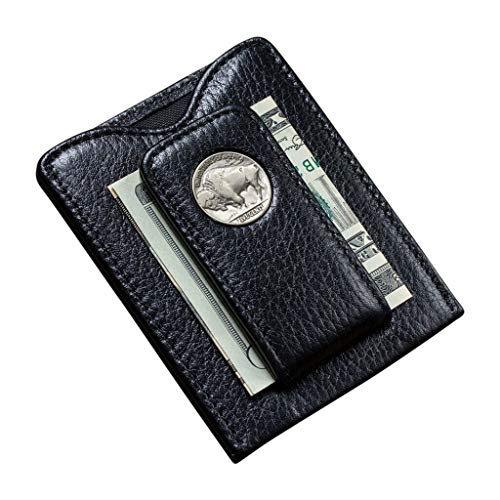 Tokens & Icons Buffalo Nickel Money Clip Wallet (ONE SIZE, BLACK)