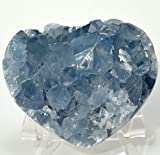 3.2'' Celestite Druzy Heart Ice Sky Blue Natural Sparkling Crystals Celestine Geode Cluster Mineral Stone - Madagascar + Acrylic Display Stand