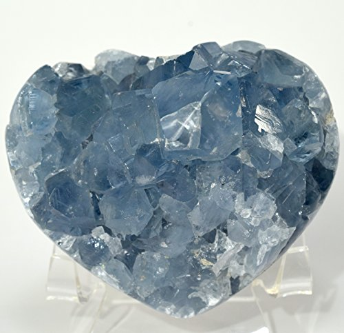 3.2'' Celestite Druzy Heart Ice Sky Blue Natural Sparkling Crystals Celestine Geode Cluster Mineral Stone - Madagascar + Acrylic Display Stand by HQRP-Crystal