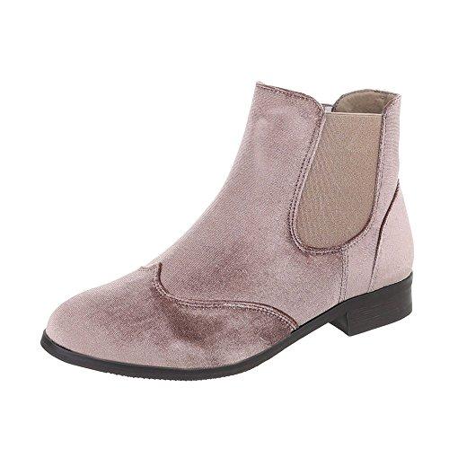 Ital-Design Chelsea Boots Damenschuhe Chelsea Boots Blockabsatz Blockabsatz Stiefeletten Hellbraun T115