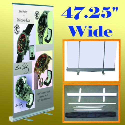 47.25'' X 78'' Retractable Roll up Banner Stand Trade Show Display 48'' (Hardware Only) by Display Sign Mart