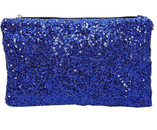 Women Fashion Dazzling Sequins Zipper Clutch Evening Party Bag (Evening Bag Purse Makeup)