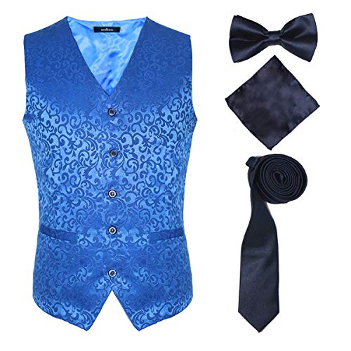 Formal Suit Vests Royal Blue for Men and Teenagers with Bow Tie for Party,Blue,L ()