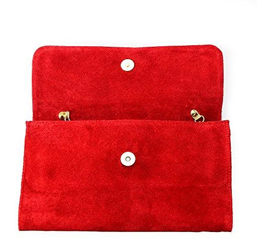 Bolso de fiesta para mujer, piel afelpada italiana auténtica, correa dorada Rosso