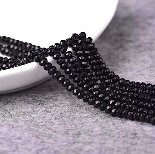 [ABCgems] Rare Thailand Deep Black Spinel Grade AAA (Piano Black Color- Extremely Durable- Exquisite Luster) Tiny 2mm Micro Faceted Precision-Cut Rondelle Beads for Beading & Jewelry Making ()