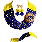 laanc Fashion Jewelry Wholesale 10 Row Royal Blue and Yellow Nigeria African Wedding Beads A-031J