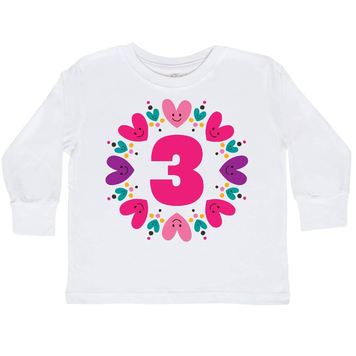 inktastic 3rd Birthday Heart Wreath Girls Toddler Long Sleeve T-Shirt