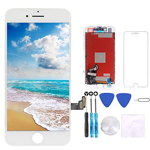 for iPhone 8 Screen Replacement White 4.7 inch, 3D Touch LCD Display & Touch Screen Digitizer Frame Assembly Set with Repair Tool Kit + Free Screen Protector