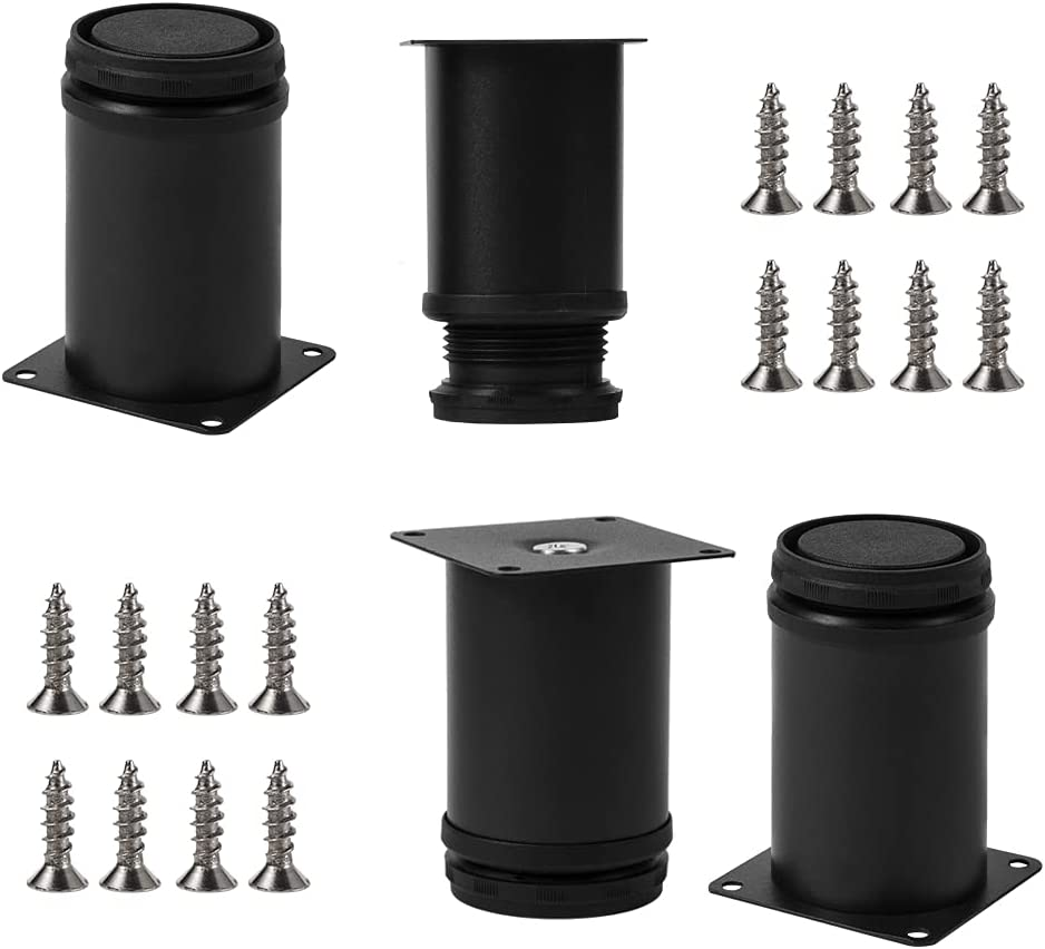 3inch Adjustable Metal Table Legs, Replacement Furniture Legs for Sofa Couch Chair Ottoman Cabinet, Set of 4(Black)