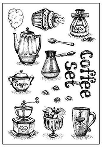 (Layhome Scrapbook Stamp Clear Stamping Printing Albums Cards DIY Making (Coffee Set))