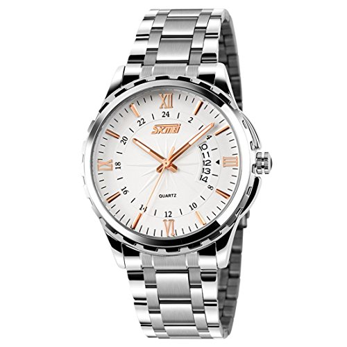 Mens Silver Stainless Steel Watch Analog Quartz Waterproof Business Watches with 40mm Case, Roman Numeral with Rose Gold and Luminous Pointer White Dial
