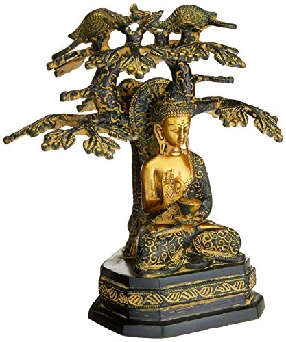 AapnoCraft Antique Abhaya Buddha Statue - Rare Brass Buddha Sculpture Under Bodhi Tree With - Indoor/ Outdoor Art Carving