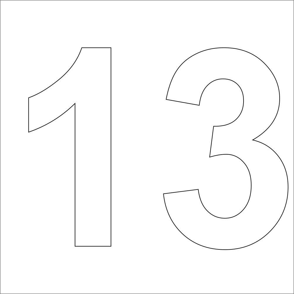 Aufkleber,Nummer, ohne Hintergrund Zahl,Nummer,M/ülltonnen,M/ülltonne 13  10 cm hoch aus Hochleistungsfolie 3 wei/ße hochwertige Zahlen Aufkleber Nr