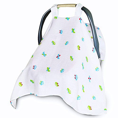 Baby Car Seat Covers To Protect From Bugs & Dust. XL Unisex Soft Muslin Cotton Canopy Cars - Code Uv Check