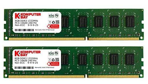 Komputerbay 16GB (2x 8GB) PC3-10600 10666 1333MHz DDR3 1333 DRAM DIMM 240-Pin RAM Desktop Memory Dual Channel KIT 9-9-9-25