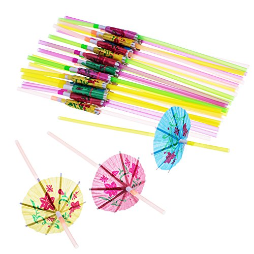 Blulu 100 Pieces Umbrella Disposable Bendable Drinking Straws for Luau Parties, Bars, Restaurants - Luau Straws