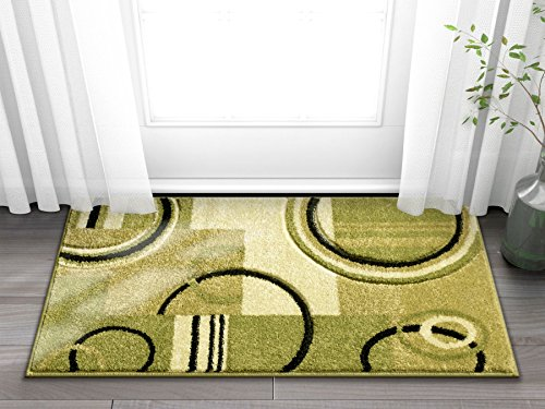 Light Green Modern Geometric Comfy Casual Hand Carved 2x3 (2' x 3') Area Rug Easy to Clean Stain Fade Resistant Abstract Contemporary Thick Soft Plush Living Dining Room Rug (Hand Carved Olive)
