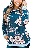 EIFFTER Womem Floral Print Pullover Hoodie Casual Long Sleeve Drawstring Hooded Sweatshirt with Pocket (Large, Blue)