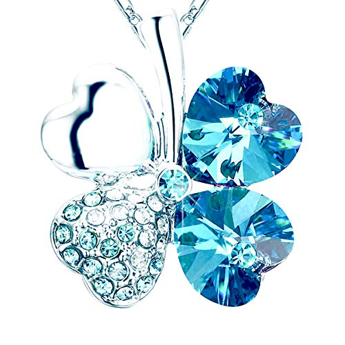 - NEVERMORE Classics Shamrock Four Leaf Clover Crystal Pendant Necklace with Silver-Colored Chain (Blue)