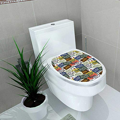 Auraise-home Waterproof self-Adhesive Vintage Original Retro License Plates Personalized GiftsCreative Travel Collections Multi Color Toilet Seat Vinyl Art Stickers W8 x ()