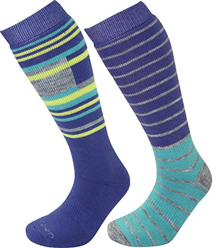 - Lorpen Ski-Snowboard Merino Wool Socks (2 Pack), Plum/Turquoise, Medium