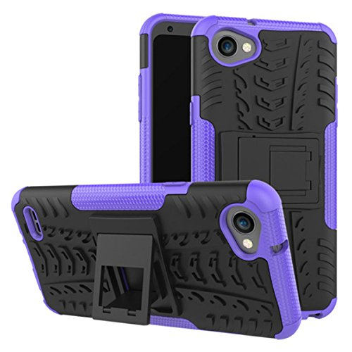LG Q6 Case,Gift_Source [Shock Absorption] Hybrid Dual Layer Protection Soft Silicone & Hard PC Rugged Back Cover TPU Bumper Case with Kickstand for LG Q6 (5.5 inch) [Purple]