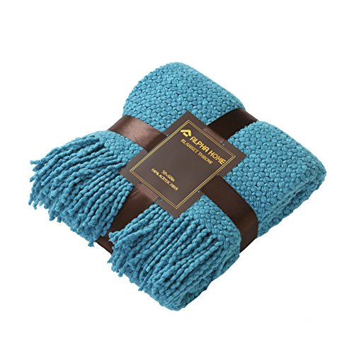 ALPHA HOME Knit Throw Blanket Warm & Cozy for Couch Sofa Bed Beach Travel - 50