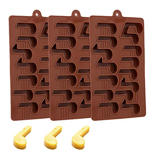 YTLS Music Note Silicone Chocolate Molds, BPA Free, Food Grade, for Cake Decoration, Cupcake Topper, Polymer Clay, Crafting, Chocolate, Set of 3