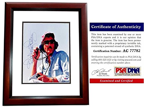 Richard Petty Autographed Photo - Race Car Driver 8x8 inch MAHOGANY CUSTOM FRAME Certificate of Authenticity COA) - PSA/DNA Certified (Race Car Driver Frame)