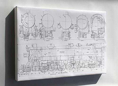 Canvas 24x36; Usra Light Santa Fe (2-10-2) Railroad Locomotive Train Diagram Usra Light