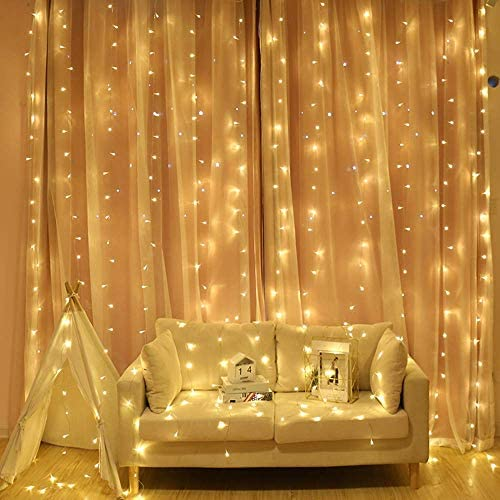 Neretva LED Curtain Lights,19.68×9.84FT,600 LED ,8 Modes Plug in Twinkle Lights,Indoor Outdoor Decorative Wall Window String Lights for Wedding Party Wall Christmas Decoration Warm White