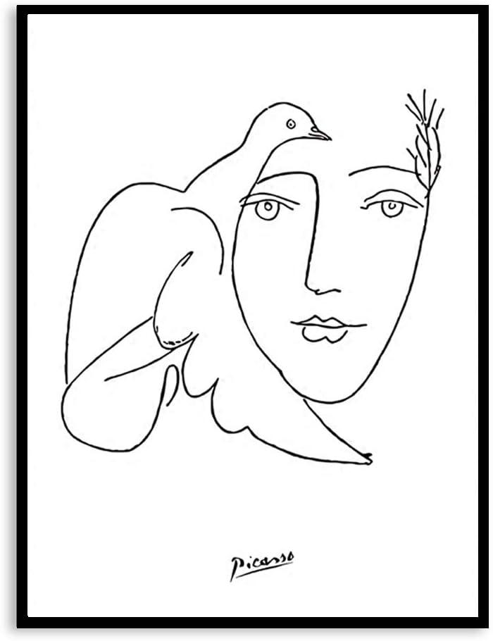 zxddzl Blanco y Negro Picasso Dibujo Lineal Animal Cerdo Caballo pingüino boceto Cartel 60 * 80