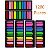 1200 Pieces Page Markers Sticky Index Tabs, Arrow Flag Tabs Colored Sticky Notes for Page Marker Bookmarks [10 Primary Colors, 3 Designs] Sticks Securely, Removes Cleanly