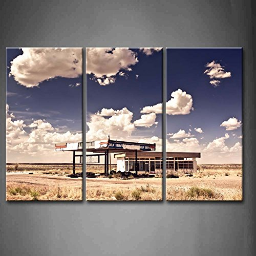 First Wall Art - 3 Panel Wall Art Old Gas Station In Ghost Town Along The Route 66 At Border Of The Desert Painting Pictures Print On Canvas Car The Picture For Home Modern Decoration piece (Stretched By Wooden Frame,Ready To Hang) Route 66 Gas Stations