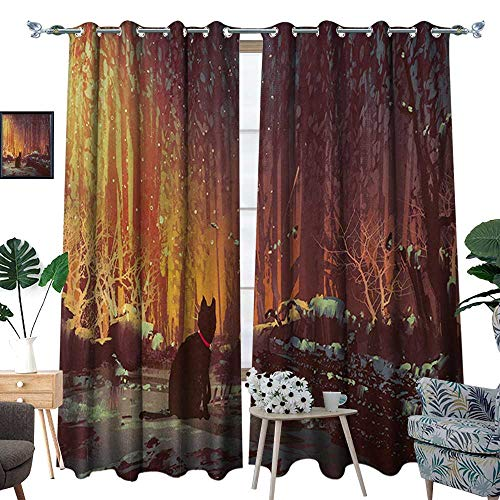 - RenteriaDecor Fantasy Thermal Insulating Blackout Curtain Surreal Lost Black Cat Deep Dark in Forest with Mystic Picture Artwork Print Patterned Drape for Glass Door W120 x L96 Orange Brown