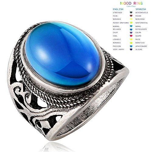 Aienid Antique Jewelry Mood Ring for Women Men Color Changing Oval Stone Emotion Feeling Relax Finger - Color Oval Stone Gents