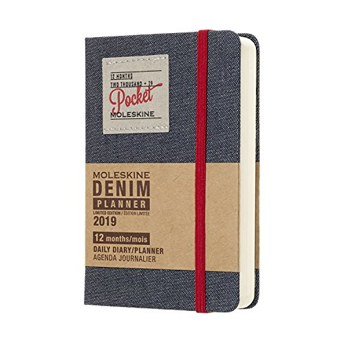 Moleskine Limited Edition Denim Collection 12 Month 2019 Daily Planner, Hard Cover, Pocket (3.5
