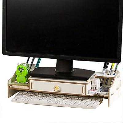 Yumu DIY ajustable elevador de Monitor del ordenador soporte organizador de escritorio de madera ecológica bolígrafo ranuras almacenamiento de papel ...