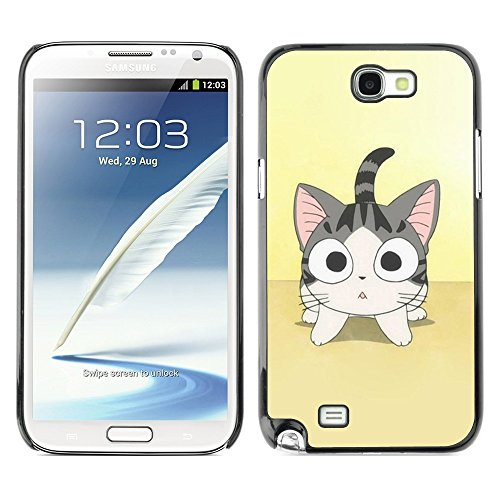 Soft Silicone Rubber Case Hard Cover Protective Accessory Compatible with SAMSUNG GALAXY NOTE 2 & N7100 - Cute Japanese Anime Cat