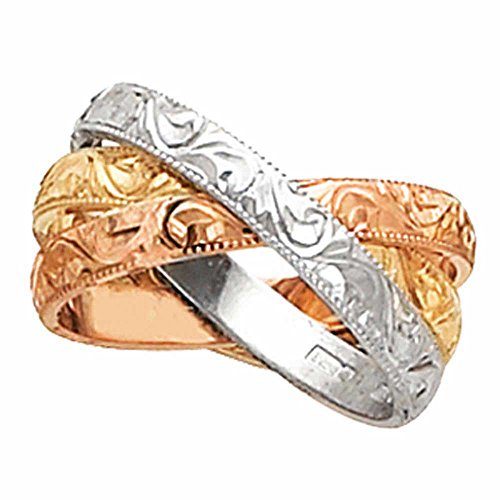- 18K Tri Color Gold Floral Paisley Women's Comfort Fit Wedding Band (3mm) Size-6.5c1