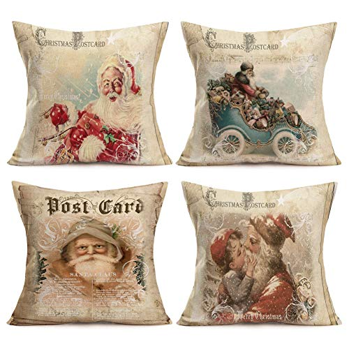 Easternproject Vintage Santa Claus Series Throw Pillow Covers Christmas Yellowing Cotton Linen Throw Pillow Cushion Cover Home Office Pillow Case 18x18 Set of 4