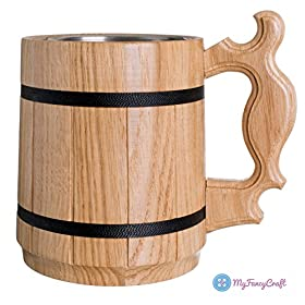 Handmade Beer Mug Oak Wood Stainless Steel Cup Gift Natural Eco-Friendly 0.6L 20oz Classic Brown
