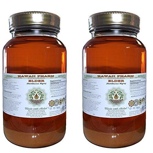 Elder Alcohol-FREE Liquid Extract, Elder Sambucus Nigra Dried Flower Glycerite Hawaii Pharm Natural Herbal Supplement 2×32 oz Unfiltered