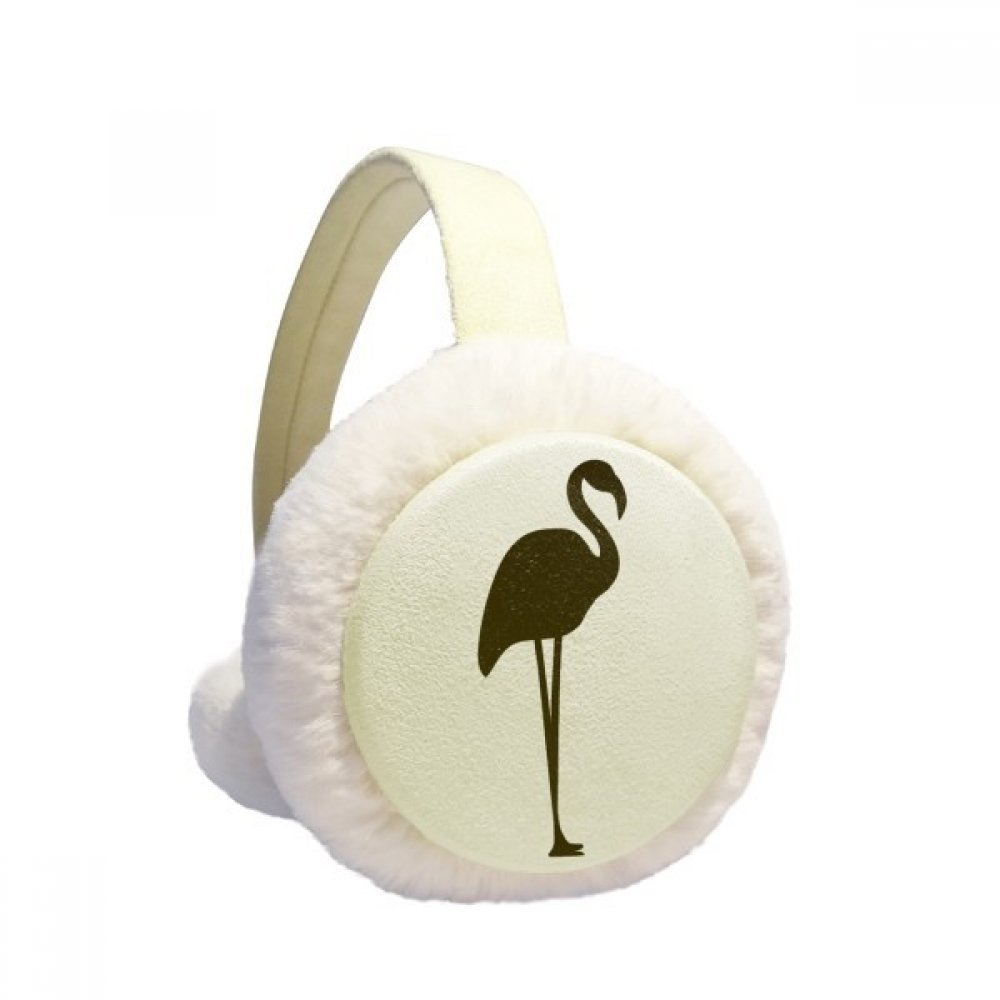 Black Flamingo Cute Animal Portrayal Winter Earmuffs Ear Warmers Faux Fur Foldable Plush Outdoor Gift