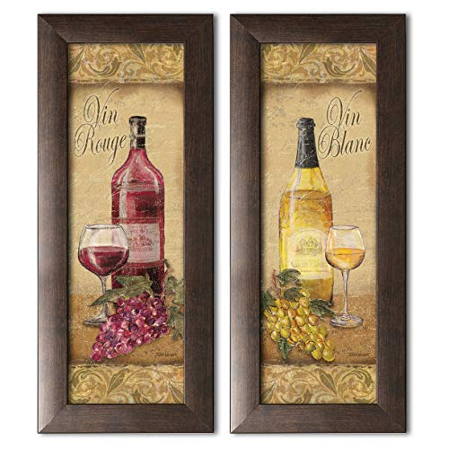 Gango Home Décor 2 Vintage Tuscan White and Red Wine Bottle and Grape Set; Two Brown Framed 6x18in Prints; Ready to Hang!