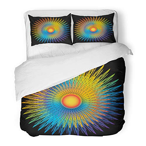 Emvency Decor Duvet Cover Set Twin Size Blue Circle Rainbow Sunburst Green Colors Graphic Rays Round Spectrum Sun 3 Piece Brushed Microfiber Fabric Print Bedding Set Cover