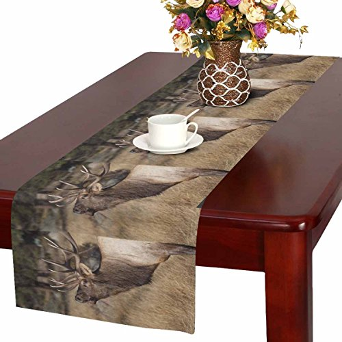 InterestPrint Deer Wilderness Elk in Rocky Mountain National Park Table Runner Cotton Linen Cloth Placemat for Office Kitchen Dining Wedding Party Banquet 16 x 72 Inches